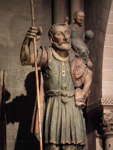 Statue de St Christophe (Basilique ND d'Avesnières, Laval)